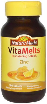 Nature Made, VitaMelts, Zinc, Honey Lemon, 100 Tablets 補品,礦物質,鋅含片