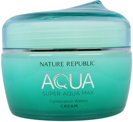 Aqua, Super Aqua Max, Combination Watery Cream, 2.70 fl oz (80 ml) by Nature Republic, 洗澡,美容,面部護理,面霜,乳液 HK 香港