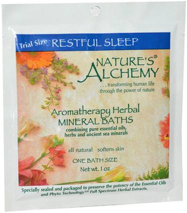 Aromatherapy Herbal Mineral Baths, Restful Sleep, Trial Size, 1 oz by Natures Alchemy, 洗澡,美容,浴鹽 HK 香港