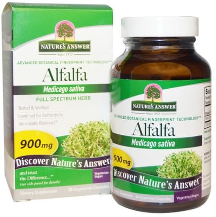Alfalfa, Full Spectrum Herb, 900 mg, 90 Vegetarian Capsules by Natures Answer, 草藥,苜蓿 HK 香港
