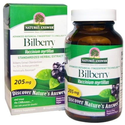 Bilberry, Standardized Herbal Extract, 205 mg, 90 Vegetarian Capsules by Natures Answer, 健康,眼部護理,視力保健,越橘,瘀傷,挫傷 HK 香港