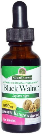 Black Walnut, Low Alcohol, 1000 mg, 1 fl oz (30 ml) by Natures Answer, 草藥,黑胡桃 HK 香港