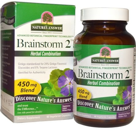 Brainstorm 2, Herbal Combination, 450 mg, 90 Vegetarian Capsules by Natures Answer, 健康,注意力缺陷障礙,添加,adhd,腦 HK 香港
