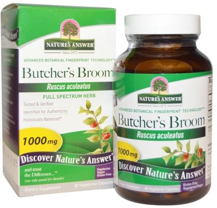 Butchers Broom, Full Spectrum Herb, 1000 mg, 90 Vegetarian Capsules by Natures Answer, 草藥,屠夫掃帚 HK 香港