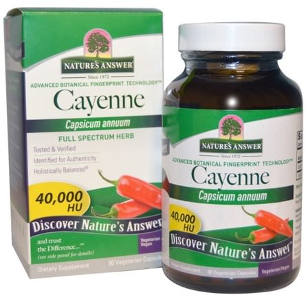 Cayenne, Capsicum Annuum, 90 Vegetarian Capsules by Natures Answer, 健康 HK 香港