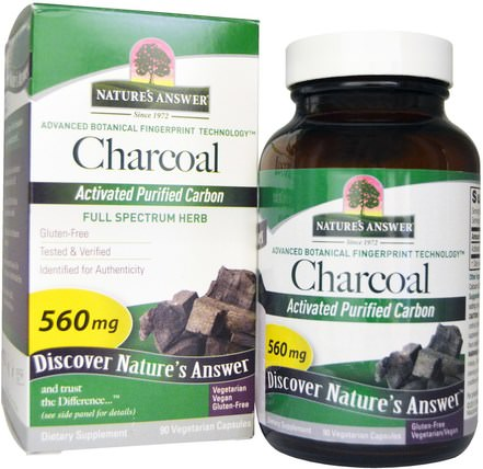 Charcoal, Activated Purified Carbon, 560 mg, 90 Vegetarian Capsules by Natures Answer, 補品,礦物質,活性炭 HK 香港