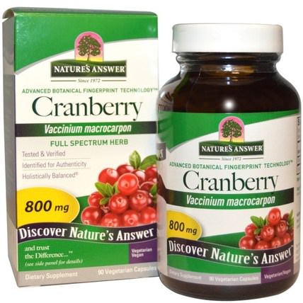 Cranberry, 800 mg, 90 Vegetarian Capsules by Natures Answer, 草藥,蔓越莓 HK 香港