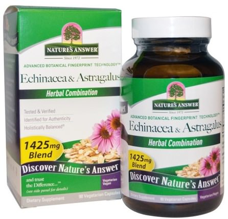 Echinacea & Astragalus, 1425 mg, 90 Vegetarian Capsules by Natures Answer, 補充劑,抗生素,紫錐花,健康,感冒和病毒,黃芪 HK 香港