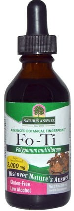 Fo-Ti, Low Alcohol, 2.000 mg, 2 fl oz (60 ml) by Natures Answer, 洗澡,美容,頭髮,頭皮,佛陀(何壽武) HK 香港