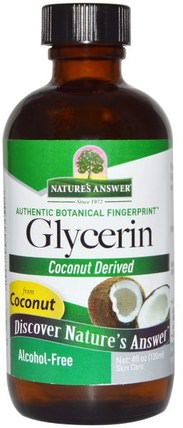 Glycerin, Alcohol-Free, 4 fl oz (120 ml) by Natures Answer, 美容,面部護理,甘油蔬菜 HK 香港