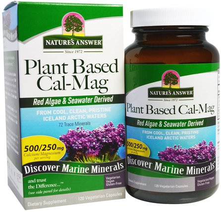 Plant Based Cal-Mag, 500/250 mg, 120 Vegetarian Capsules by Natures Answer, 補充劑,礦物質,鈣和鎂 HK 香港