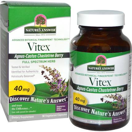 Vitex, Agnus-Castus Chastetree Berry, 90 Vegetarian Capsules by Natures Answer, 草藥,純潔的漿果 HK 香港