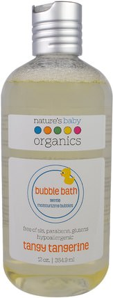 Bubble Bath, Gentle Moisturizing Bubbles, Tangy Tangerine, 12 oz (354.9 ml) by Natures Baby Organics, 洗澡,美容,泡泡浴,孩子泡泡浴 HK 香港