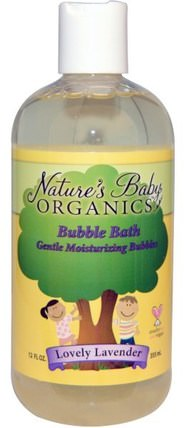 Bubble Bath, Gentle Moisturizing Bubbles, Lovely Lavender, 12 fl oz (355 ml) by Natures Baby Organics, 洗澡,美容,泡泡浴,孩子泡泡浴 HK 香港