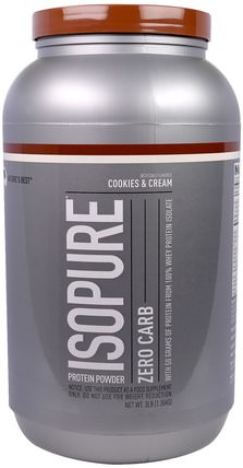 IsoPure, Protein Powder, Zero Carb, Cookies & Cream, 3 lbs (1.36 kg) by Natures Best, 健康 HK 香港