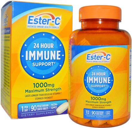 24 Hour Immune Support, Maximum Strength, 1000 mg, 90 Tablets by Natures Bounty, 健康,感冒和病毒,免疫系統 HK 香港