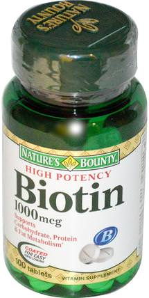 Biotin, 1000 mcg, 100 Coated Tablets by Natures Bounty, 維生素,維生素B,生物素 HK 香港