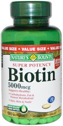 Biotin, 5000 mcg, 150 Rapid Release Softgels by Natures Bounty, 維生素,維生素B,生物素 HK 香港