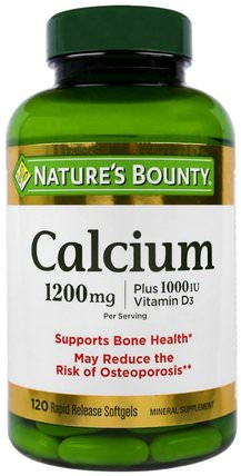 Calcium Plus Vitamin D3, 1200 mg/1000 IU, 120 Rapid Release Softgels by Natures Bounty, 補充劑,礦物質,鈣維生素d HK 香港