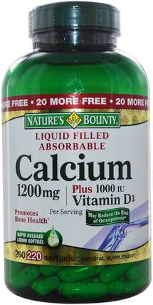 Calcium Plus Vitamin D3, 1200 mg/1000 IU, 220 Rapid Release Softgels by Natures Bounty, 補充劑,礦物質,鈣維生素d HK 香港