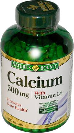 Calcium with Vitamin D3, 500 mg, 300 Tablets by Natures Bounty, 補充劑,礦物質,鈣維生素d HK 香港