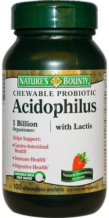 Chewable Probiotic Acidophilus with Lactis, Natural Strawberry Flavor, 100 Chewable Wafers by Natures Bounty, 補充劑,益生菌,穩定的益生菌 HK 香港