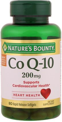 Co Q-10, 200 mg, 80 Rapid Release Softgels by Natures Bounty, 補充劑,輔酶q10,coq10 200毫克 HK 香港