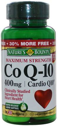 Co Q-10, Maximum Strength, Cardio Q10, 400 mg, 39 Softgels by Natures Bounty, 補充劑,輔酶q10,coq10 400毫克 HK 香港