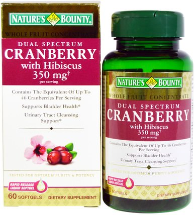 Cranberry, with Hibiscus, Dual Spectrum, 60 Softgels by Natures Bounty, 草藥,蔓越莓 HK 香港