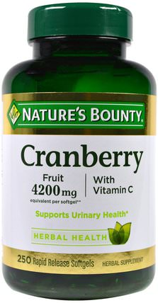 Cranberry, With Vitamin C, 250 Rapid Release Softgels by Natures Bounty, 草藥,蔓越莓 HK 香港