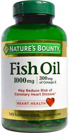 Fish Oil, 1000 mg, 145 Rapid Release Softgels by Natures Bounty, 補充劑,efa omega 3 6 9(epa dha),魚油,魚油軟膠囊 HK 香港