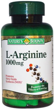 L-Arginine, 1000 mg, 50 Tablets by Natures Bounty, 補充劑,氨基酸,精氨酸 HK 香港