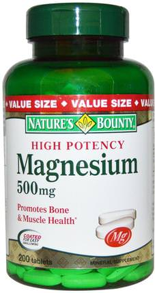 Magnesium, High Potency, 500 mg, 200 Coated Tablets by Natures Bounty, 補品,礦物質,氧化鎂 HK 香港