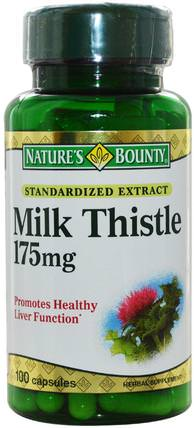 Milk Thistle, 175 mg, 100 Capsules by Natures Bounty, 健康,排毒,奶薊(水飛薊素) HK 香港