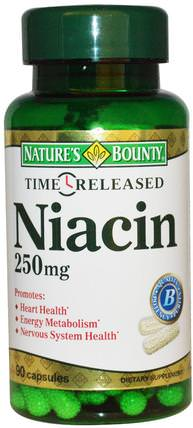 Niacin, Time Released, 250 mg, 90 Capsules by Natures Bounty, 維生素,維生素b,維生素b3,維生素b3 - 菸酸 HK 香港