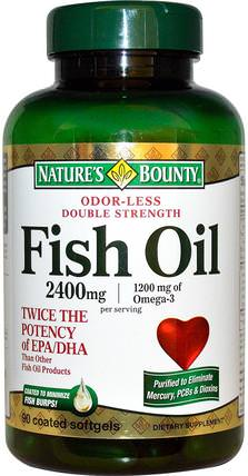 Odor-Less Double Strength, Fish Oil, 2400 mg, 90 Coated Softgels by Natures Bounty, 補充劑,efa omega 3 6 9(epa dha),魚油,魚油軟膠囊 HK 香港