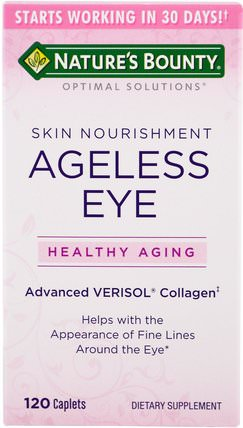 Optimal Solutions, Ageless Eye Skin Nourishment, 120 Caplets by Natures Bounty, 健康,骨骼,骨質疏鬆症,抗衰老,膠原蛋白 HK 香港