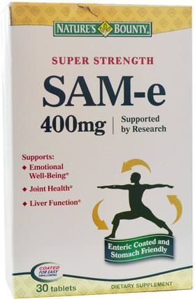 SAM-e (S-Adenosyl-L-Methionine), Super Strength, 400 mg, 30 Tablets by Natures Bounty, 健康,藥物濫用,成癮,sam-e(s-adenosyl methionine),sam-e 400 mg HK 香港
