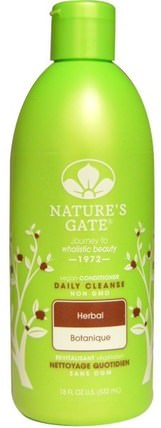 Conditioner, Daily Cleanse, Vegan, Herbal, 18 fl oz (532 ml) by Natures Gate, 洗澡,美容,頭髮,頭皮,護髮素 HK 香港
