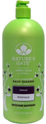 Daily Cleanse Conditioner, Vegan, Herbal, 32 fl oz (946 ml) by Natures Gate, 洗澡,美容,護髮素,頭髮,頭皮,洗髮水,護髮素 HK 香港