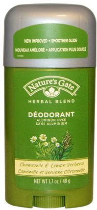 Deodorant, Herbal Blend, Chamomile & Lemon Verbena, 1.7 oz (48 g) by Natures Gate, 洗澡,美容,除臭劑 HK 香港