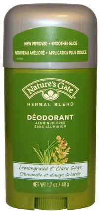 Deodorant, Herbal Blend, Lemongrass & Clary Sage, 1.7 oz (48 g) by Natures Gate, 洗澡,美容,除臭劑 HK 香港