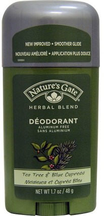 Deodorant, Herbal Blend, Tea Tree & Blue Cypress, 1.7 oz (48 g) by Natures Gate, 洗澡,美容,除臭劑 HK 香港