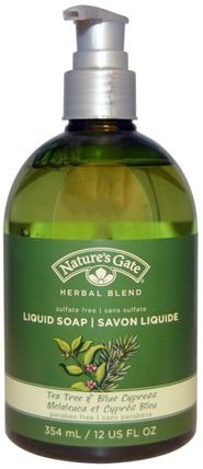 Herbal Blend, Liquid Soap, Tea Tree & Blue Cypress, 12 fl oz (354 ml) by Natures Gate, 洗澡,美容,肥皂 HK 香港