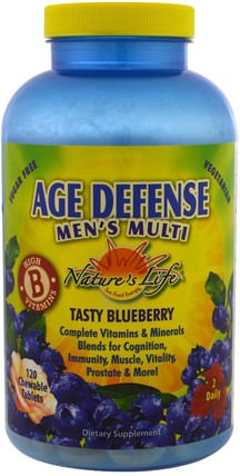Age Defense Mens Multi, Tasty Blueberry, 120 Chewable Tablets by Natures Life, 補充劑,合成代謝補品,嗯 HK 香港