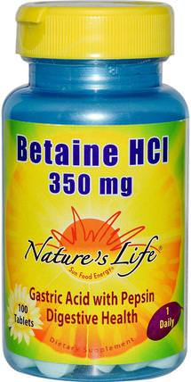 Betaine HCL, 350 mg, 100 Tablets by Natures Life, 補充劑,甜菜鹼,消化,胃 HK 香港