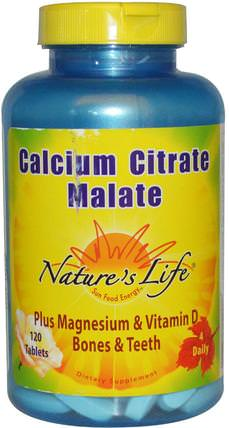 Calcium Citrate Malate, 120 Tablets by Natures Life, 補充劑,礦物質,檸檬酸鈣,蘋果酸鈣 HK 香港