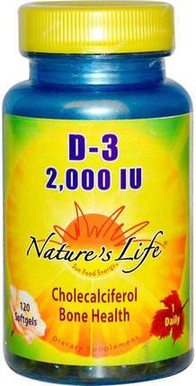 Natures Life, D-3, 2.000 IU, 120 Softgels 維生素,維生素D3