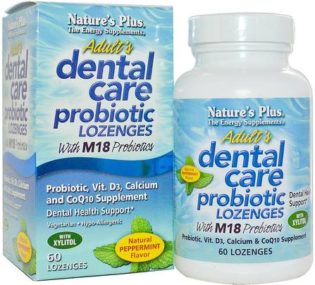 Adult Dental Care Probiotic With M18, Natural Peppermint Flavor, 60 Lozenges by Natures Plus, 洗澡,美容,口腔牙科護理,酶 HK 香港