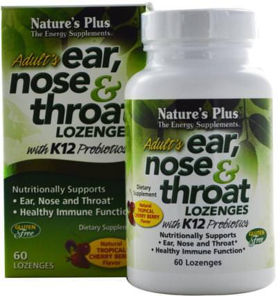 Adults Ear, Nose & Throat Lozenges, Tropical Cherry Berry, 60 Lozenges by Natures Plus, 健康,感冒流感和病毒,喉嚨護理噴霧,耳朵聽覺和耳鳴,耳朵和聽力產品 HK 香港
